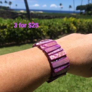 Purple Dyed Faux Mother of Pearl Stretch